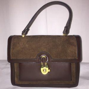 Handbags - Vintage Accordion leather and velvet bag